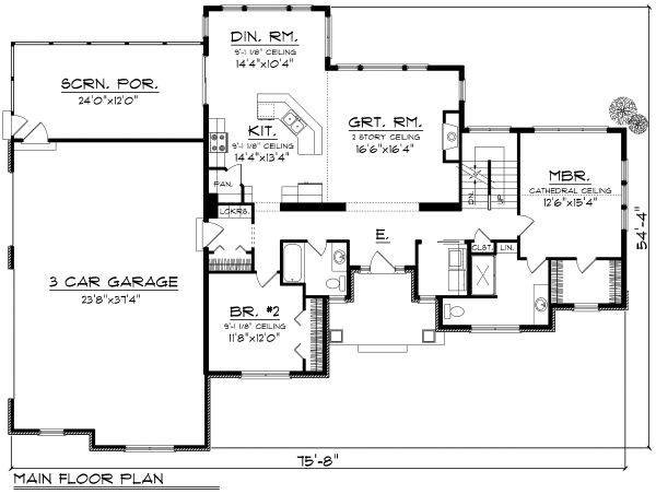 Craftsman Floor Plan - Main Floor Plan Plan #70-1169