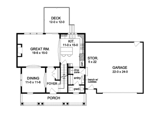 Country Floor Plan - Main Floor Plan Plan #1010-78