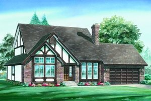 Tudor Exterior - Front Elevation Plan #47-625