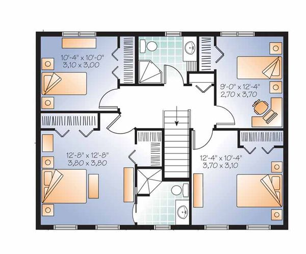 Colonial Floor Plan - Upper Floor Plan Plan #23-2479