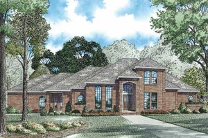Architectural House Design - Mediterranean Exterior - Front Elevation Plan #17-3170