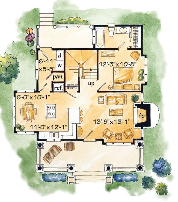 Cabin Floor Plan - Main Floor Plan Plan #942-25