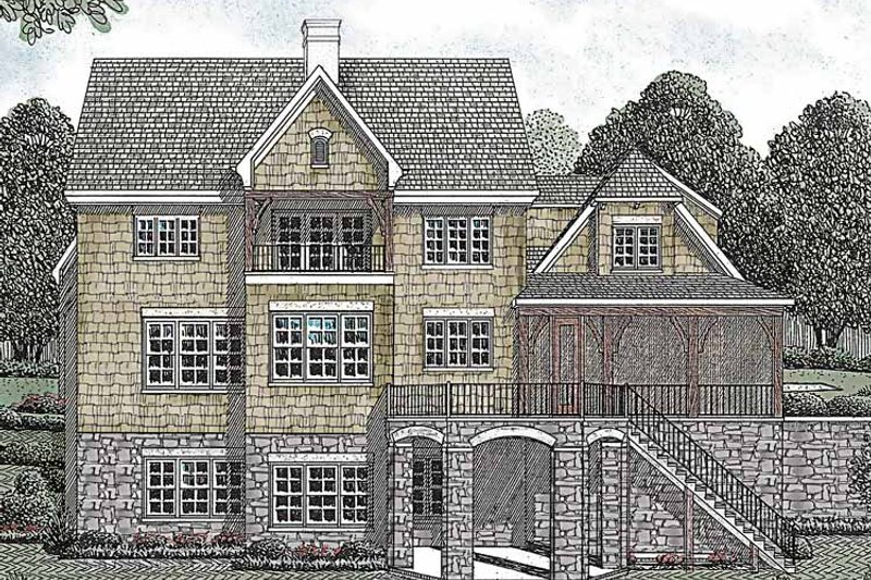 Country Exterior - Rear Elevation Plan #453-448 - Houseplans.com