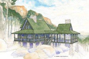 Log Exterior - Front Elevation Plan #928-281