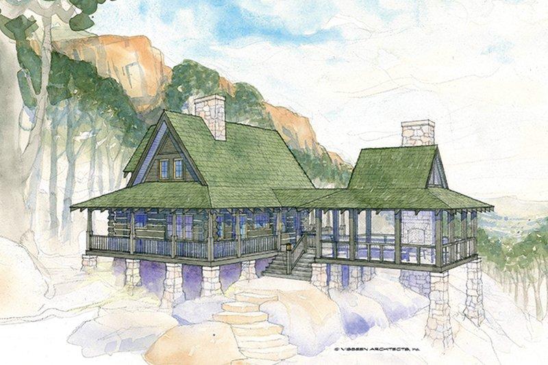 Log Exterior - Front Elevation Plan #928-281 - Houseplans.com