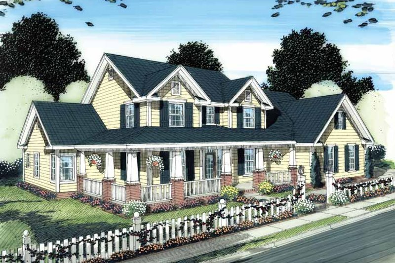 Country Exterior - Front Elevation Plan #513-2111