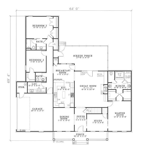 Traditional Floor Plan - Main Floor Plan Plan #17-1036