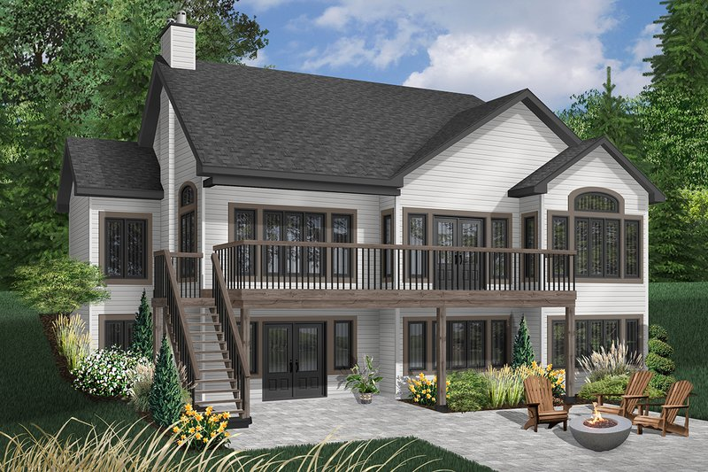 Traditional Style House Plan - 3 Beds 3 Baths 2800 Sq/Ft Plan #23-2286 Exterior - Rear Elevation