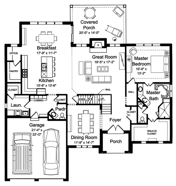 Architectural House Design - Traditional Floor Plan - Main Floor Plan #46-863