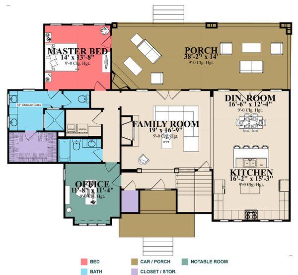 Craftsman Floor Plan - Main Floor Plan Plan #63-424