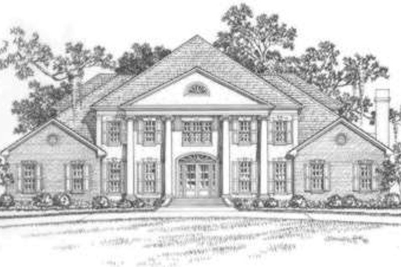 Southern Style House Plan - 5 Beds 4.5 Baths 5903 Sq/Ft Plan #325-246 Exterior - Front Elevation