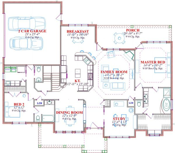 Traditional Floor Plan - Main Floor Plan Plan #63-285