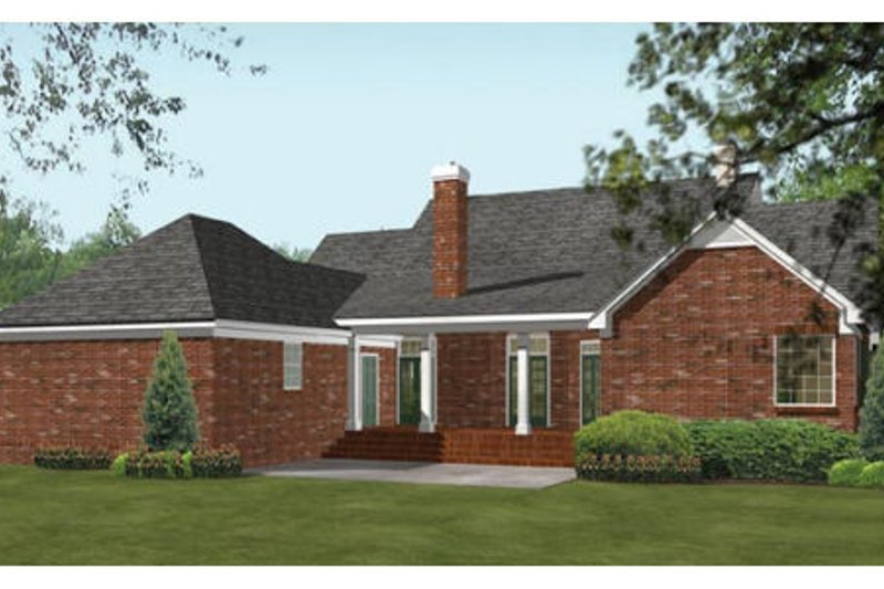Southern Exterior - Rear Elevation Plan #406-104 - Houseplans.com
