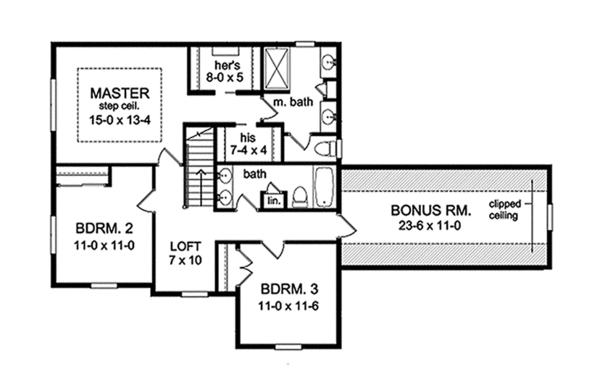 Traditional Floor Plan - Upper Floor Plan Plan #1010-123