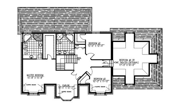 European Floor Plan - Upper Floor Plan Plan #138-337