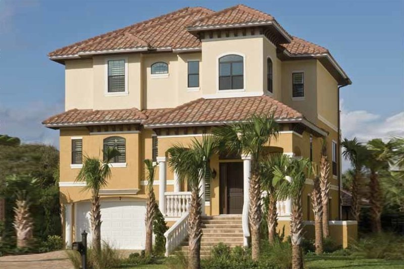 Mediterranean Style House Plan - 4 Beds 4.5 Baths 3138 Sq/Ft Plan #930-411 Exterior - Front Elevation