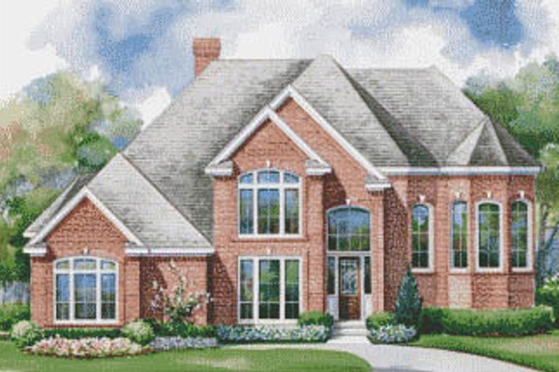 European Style House Plan - 5 Beds 3.5 Baths 3517 Sq/Ft Plan #20-1139 Exterior - Front Elevation