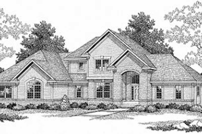Mediterranean Style House Plan - 3 Beds 2.5 Baths 2462 Sq/Ft Plan #70-513 Exterior - Front Elevation