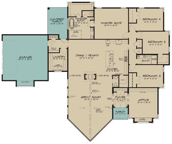 Contemporary Floor Plan - Main Floor Plan Plan #923-71