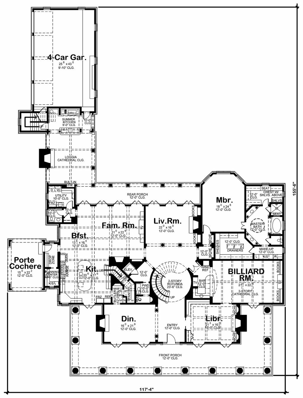 Southern Style House Plan 6 Beds 6 5 Baths 9360 Sq Ft Plan 20 2173 Builderhouseplans Com