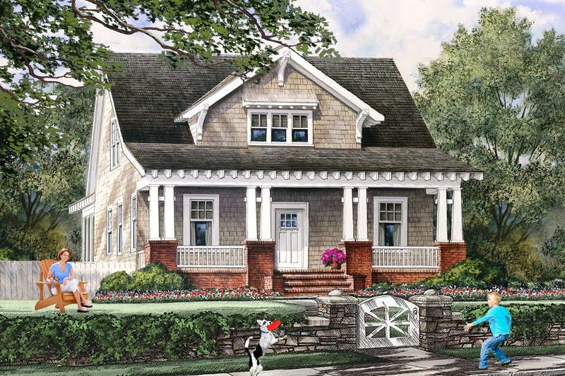 Dream House Plan - Front view - 1900 square foot Cottage home