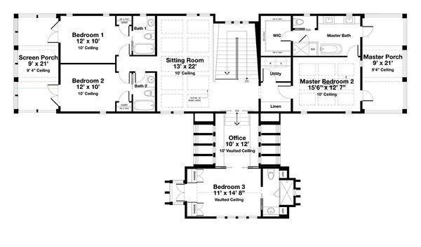 Beach Floor Plan - Upper Floor Plan Plan #443-15