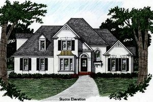 Architectural House Design - European Exterior - Front Elevation Plan #129-109