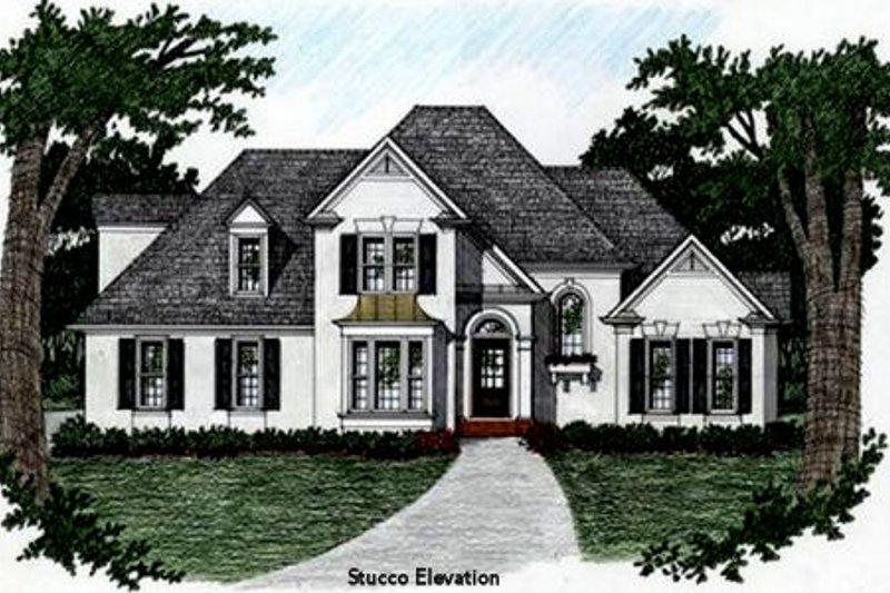 European Style House Plan - 3 Beds 2.5 Baths 1658 Sq/Ft Plan #129-109 Exterior - Front Elevation