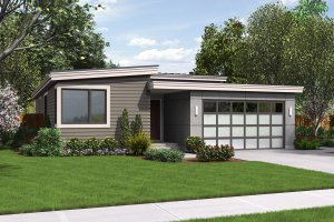 Modern Exterior - Front Elevation Plan #48-597