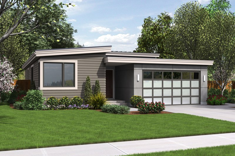 Modern Style House Plan - 3 Beds 2 Baths 1613 Sq/Ft Plan #48-597 Exterior - Front Elevation