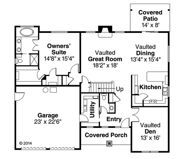 Craftsman Floor Plan - Main Floor Plan Plan #124-949