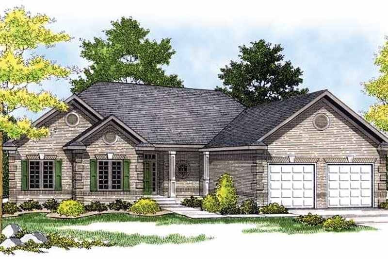 Ranch Exterior - Front Elevation Plan #70-1345