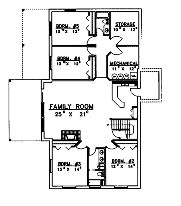Ranch Floor Plan - Lower Floor Plan Plan #117-811