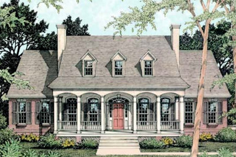 Southern Exterior - Front Elevation Plan #406-261
