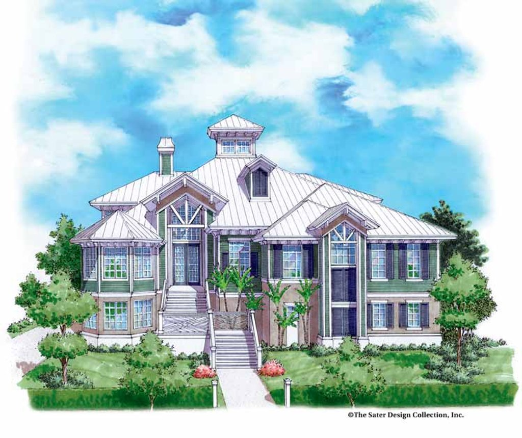 The Sater Design Collection mediterranean style house plan - 5 beds 4.5 baths 4139 sq/ft plan #930-132