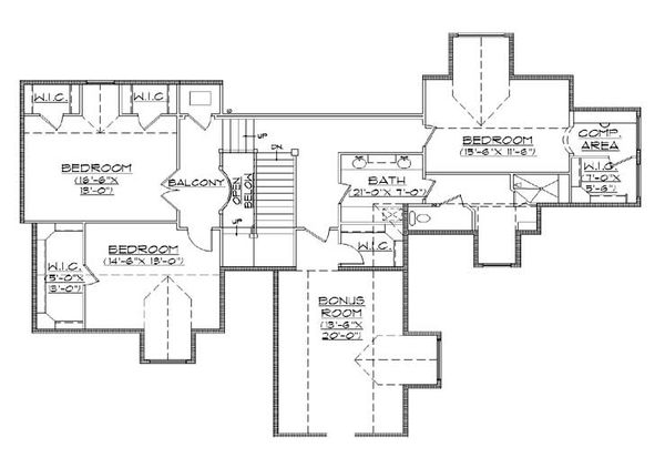 European Floor Plan - Upper Floor Plan Plan #5-439