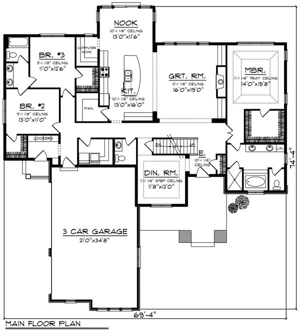 Ranch Floor Plan - Main Floor Plan Plan #70-1425