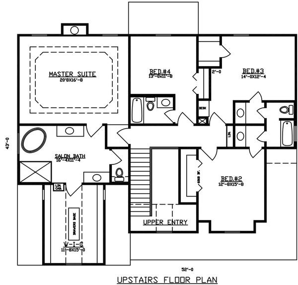 Dream House Plan - Mediterranean Floor Plan - Upper Floor Plan #405-342