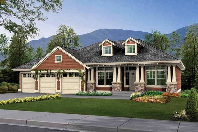 Craftsman Exterior - Front Elevation Plan #132-345