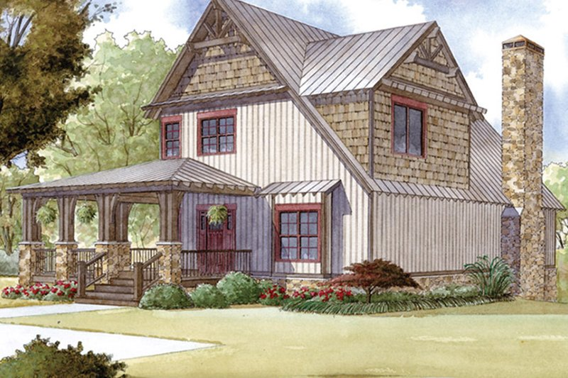 Country Exterior - Front Elevation Plan #17-3380