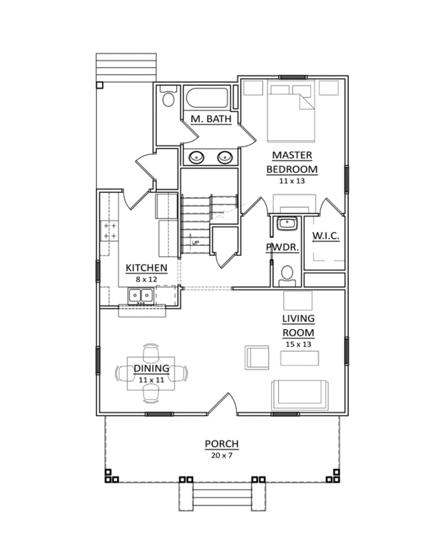 Craftsman Floor Plan - Main Floor Plan Plan #936-7