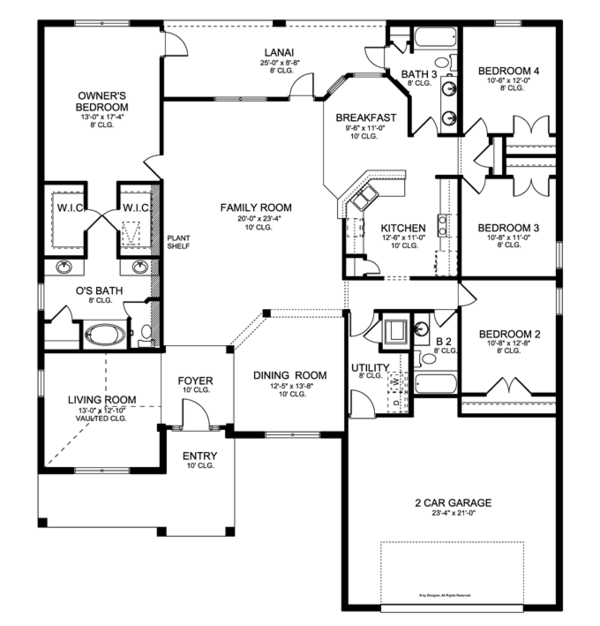 Ranch Floor Plan - Main Floor Plan Plan #1058-28