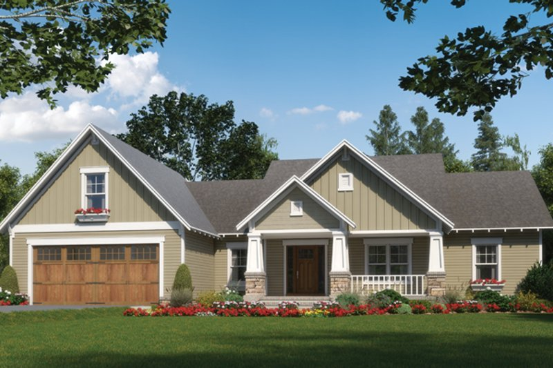 Craftsman Style House Plan - 3 Beds 2.5 Baths 2001 Sq/Ft Plan #21-432 Exterior - Front Elevation