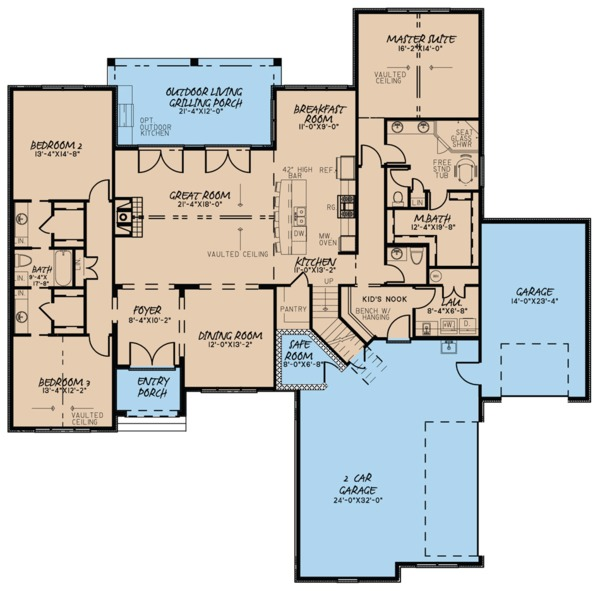 Ranch Floor Plan - Main Floor Plan Plan #923-94