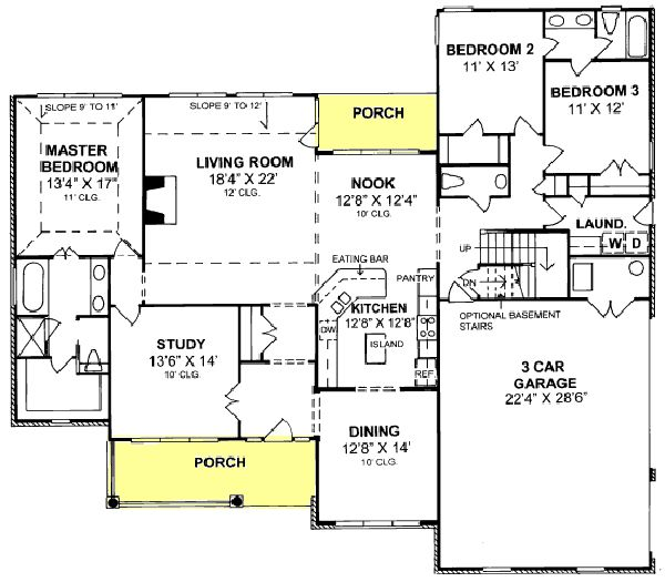 Country Floor Plan - Main Floor Plan Plan #513-2042