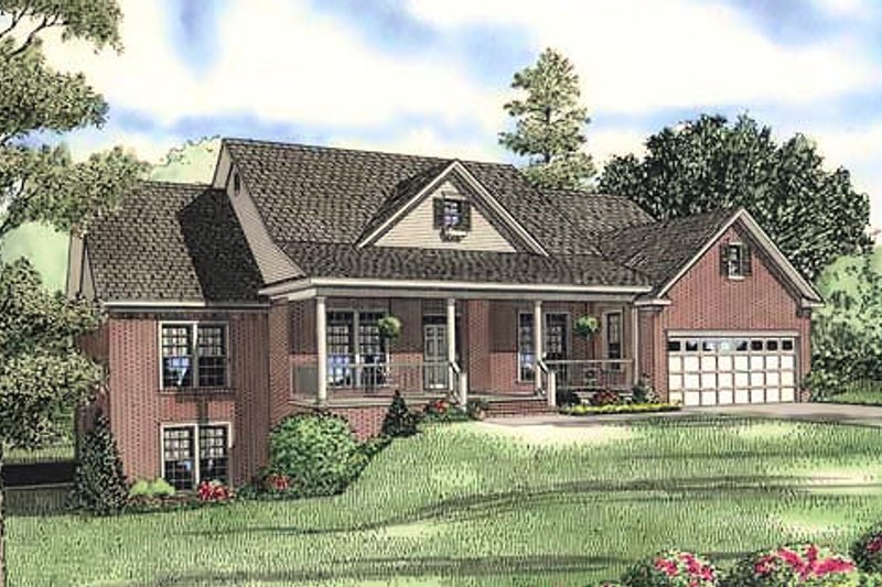 Country Style House Plan - 5 Beds 3.5 Baths 2906 Sq/Ft Plan #17-645 Exterior - Front Elevation