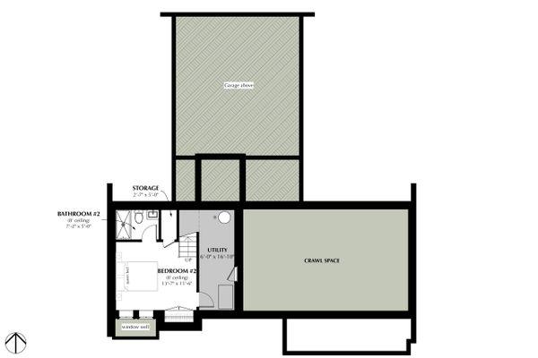Cottage Style House Plan - 2 Beds 2 Baths 1280 Sq/Ft Plan #933-9 Floor Plan - Lower Floor Plan
