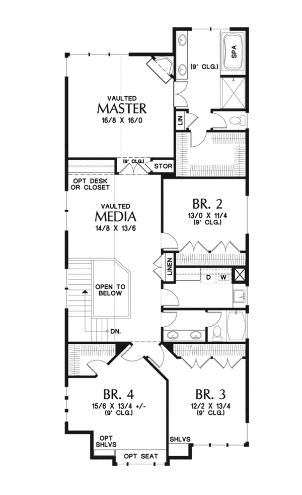 Craftsman Floor Plan - Upper Floor Plan Plan #48-903