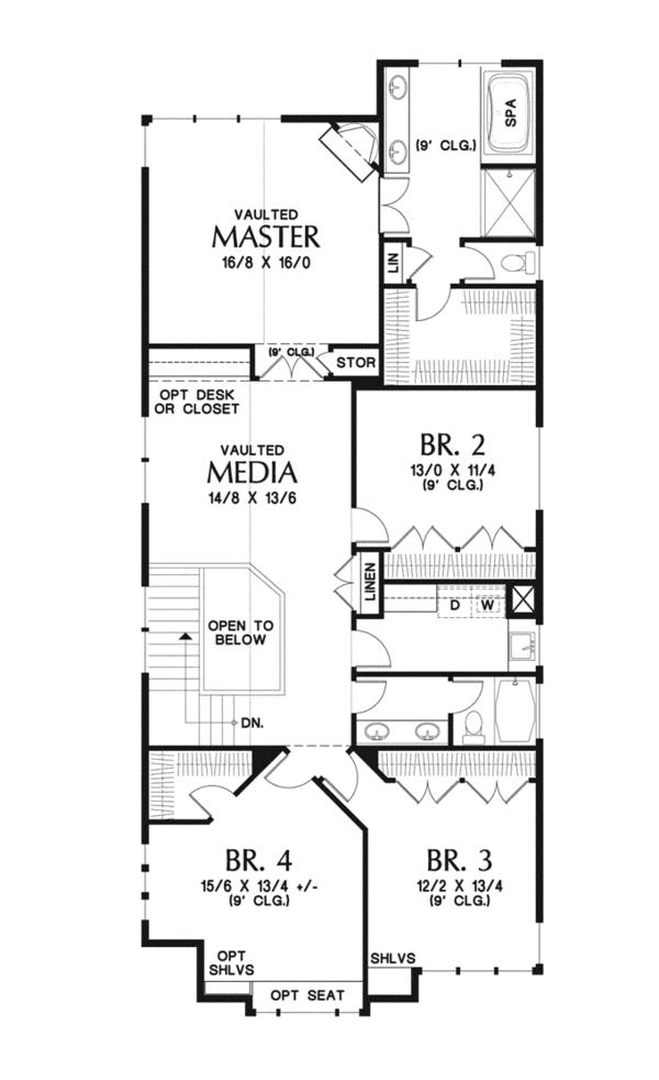 Craftsman Floor Plan - Upper Floor Plan Plan #48-903