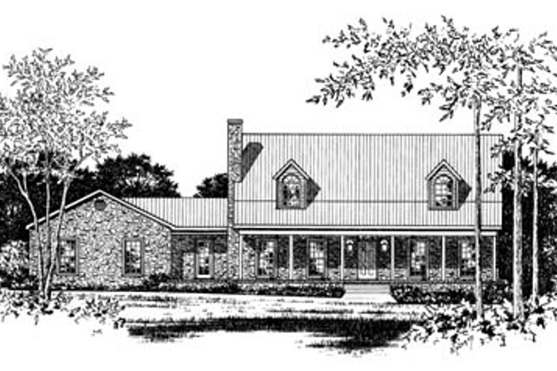 Country Style House Plan - 3 Beds 2.5 Baths 2639 Sq/Ft Plan #15-208 Exterior - Front Elevation